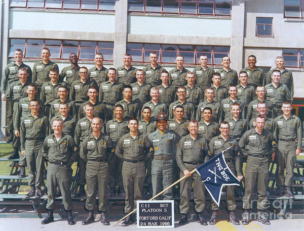 Photograph - Cii Platoon 5  Fort Ord, Calif. 24, March 1966 by California Views Archives Mr Pat Hathaway Archives