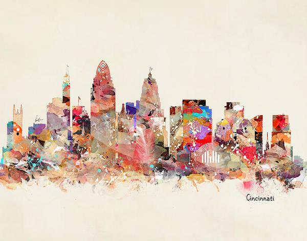 Cincinnati Wall Art - Painting - Cincinnai Ohio Skyline by Bri Buckley