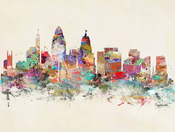 Watercolour Landscape Painting - Cincinnati City Skyline by Bri Buckley
