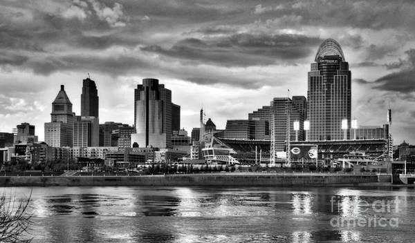 Photograph - Cincinnati Evening Home Game Black And White by Mel Steinhauer