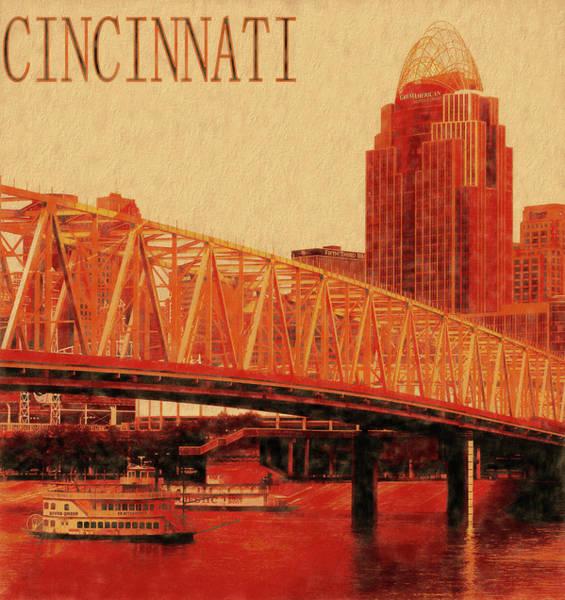 Mixed Media - Cincinnati From Newport Levee by Dan Sproul