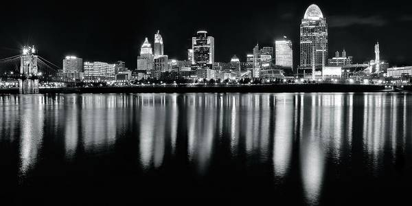 Wall Art - Photograph - Cincinnati In Charcoal Panoramic by Frozen in Time Fine Art Photography