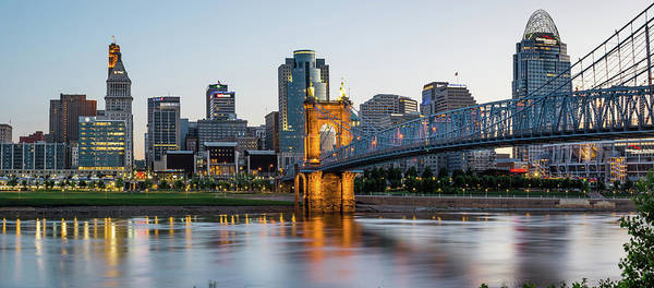 Photograph - Cincinnati Morning Skyline And Roebling Bridge Panorama by Gregory Ballos