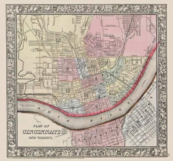 Digital Art - Cincinnati Ohio 1864 Map by Movie Poster Prints