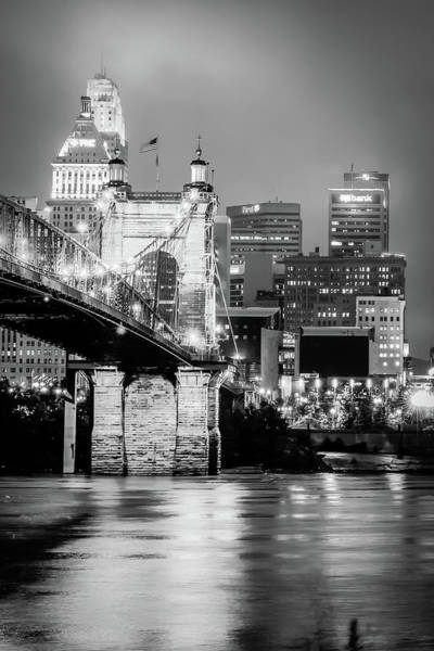Photograph - Cincinnati Ohio Skyline With John Roebling Bridge - Black And White by Gregory Ballos