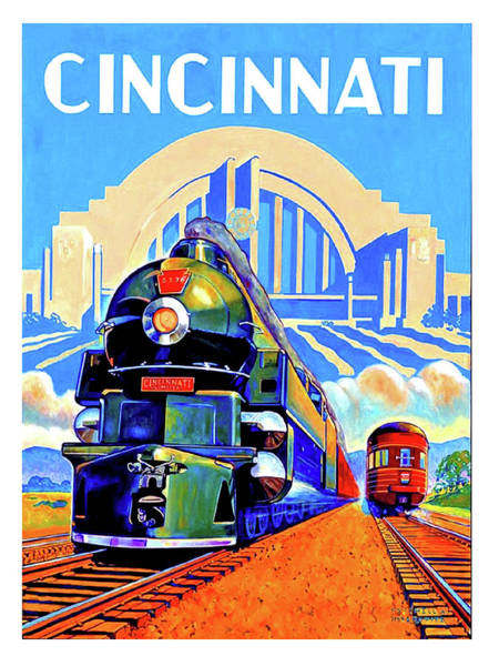 Vintage Train Painting - Cincinnati Railway, Trains, Travel Poster by Long Shot
