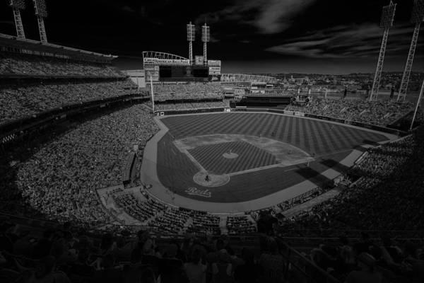 Photograph - Cincinnati Reds Great America Ballpark Creative 4 Black And White by David Haskett II