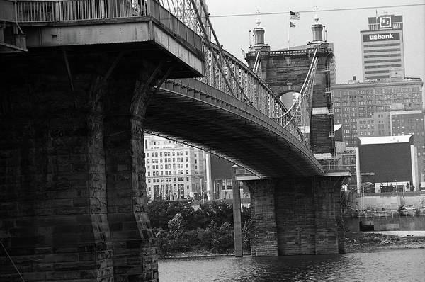 Wall Art - Photograph - Cincinnati - Roebling Bridge 2 Bw by Frank Romeo