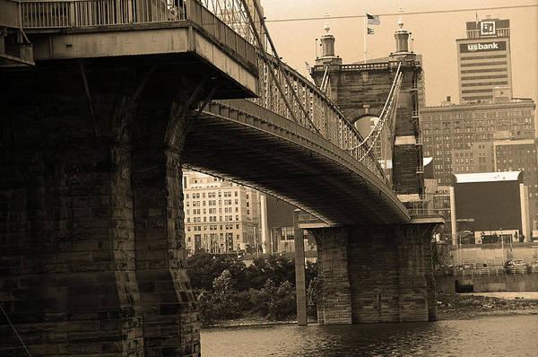 Wall Art - Photograph - Cincinnati - Roebling Bridge 2 Sepia by Frank Romeo