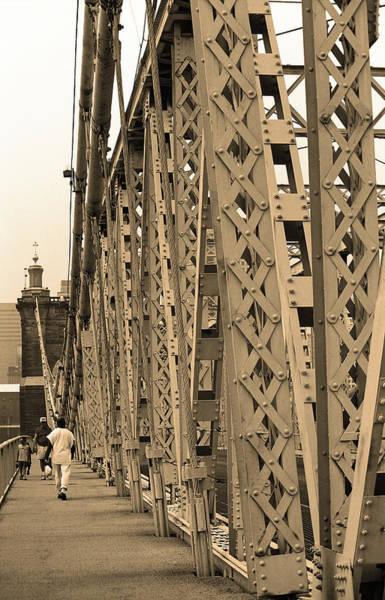 Wall Art - Photograph - Cincinnati - Roebling Bridge 3 Sepia by Frank Romeo