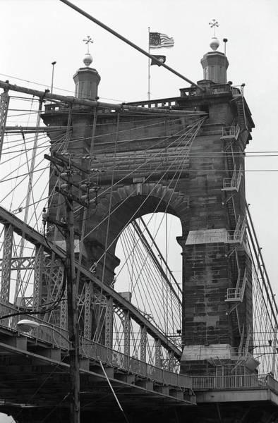 Wall Art - Photograph - Cincinnati - Roebling Bridge 4 Bw by Frank Romeo