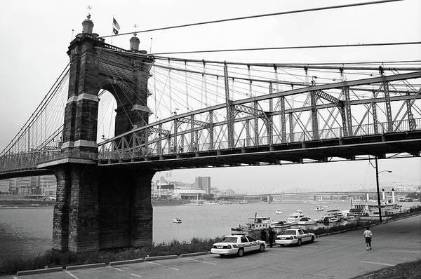 Wall Art - Photograph - Cincinnati - Roebling Bridge 5 Bw by Frank Romeo