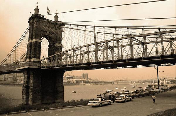 Wall Art - Photograph - Cincinnati - Roebling Bridge 5 Sepia by Frank Romeo