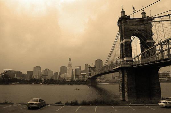 Wall Art - Photograph - Cincinnati - Roebling Bridge 6 Sepia by Frank Romeo
