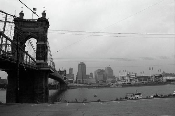 Wall Art - Photograph - Cincinnati - Roebling Bridge 7 Bw by Frank Romeo