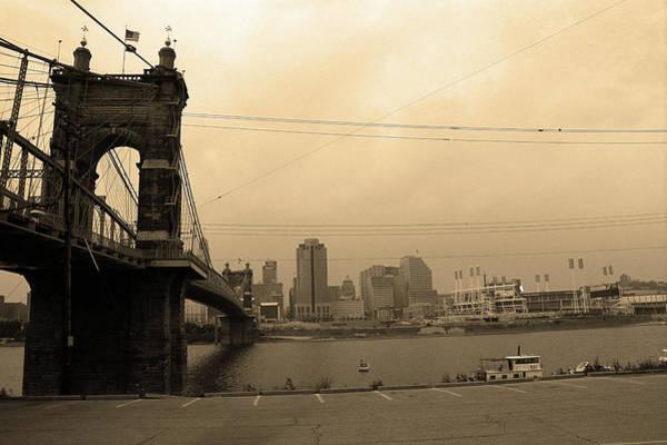 Wall Art - Photograph - Cincinnati - Roebling Bridge 7 Sepia by Frank Romeo