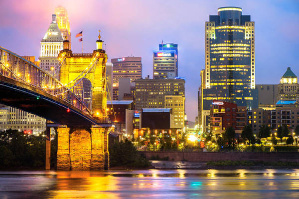Photograph - Cincinnati Skyline And The John Roebling Suspension Bridge by Gregory Ballos