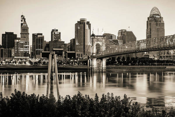 Photograph - Cincinnati Skyline And John Roebling Bridge - Sepia Monochrome Edition by Gregory Ballos