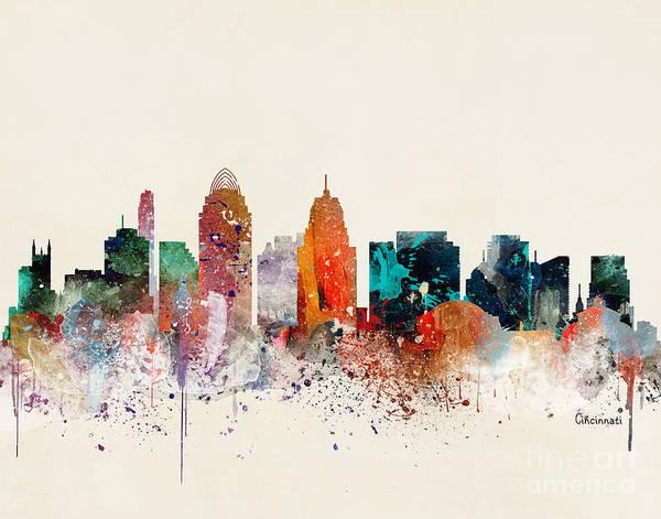 Cincinnati Wall Art - Painting - Cincinnati Skyline  by Bri Buckley