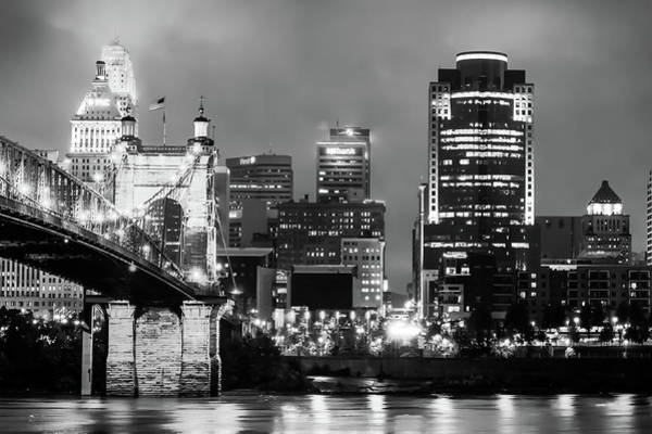 Photograph - Cincinnati Skyline In Monochrome Black And White by Gregory Ballos