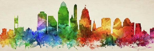 Wall Art - Digital Art - Cincinnati Skyline Panorama Usohci-pa03 by Aged Pixel