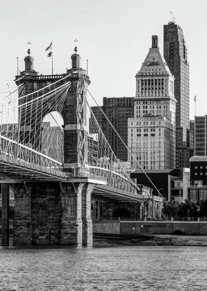 Photograph - Cincinnati Skyscrapers And Roebling Bridge - Black And White by Gregory Ballos
