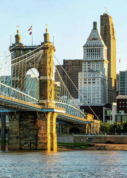 Photograph - Cincinnati Skyscrapers And Roebling Bridge by Gregory Ballos
