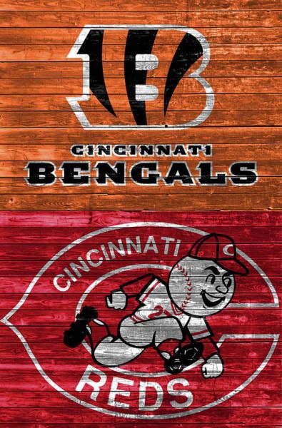 Wall Art - Mixed Media - Cincinnati Sports Barn Door by Dan Sproul