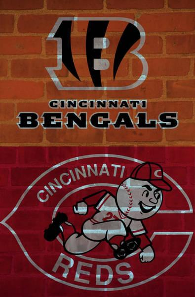 Wall Art - Mixed Media - Cincinnati Sports Brick Wall by Dan Sproul