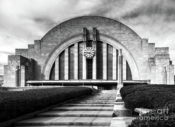 Photograph - Cincinnati Union Terminal Time Bw by Mel Steinhauer