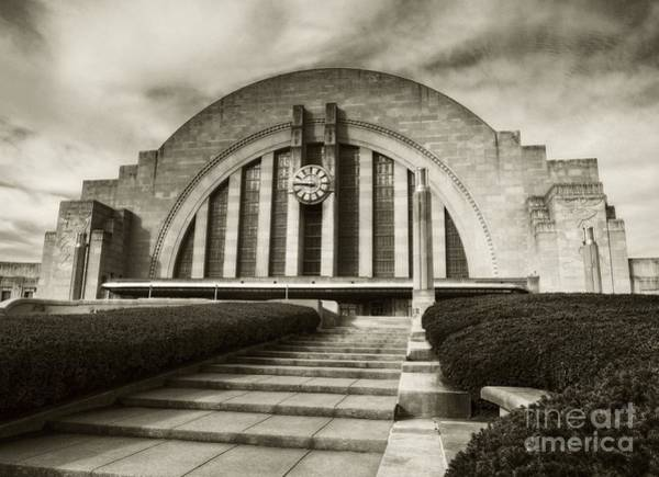 Photograph - Cincinnati Union Terminal Time Sepia Tone by Mel Steinhauer