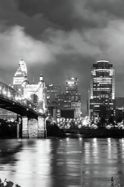 Photograph - Cincinnati Vertical Black And White Skyline Under Clouds by Gregory Ballos