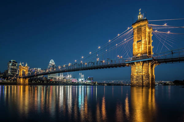 Photograph - Cincinnati's Roebling Suspension Bridge At Dusk by Sven Brogren
