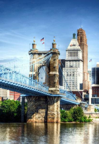Photograph - Cincinnati's Suspension Bridge by Mel Steinhauer