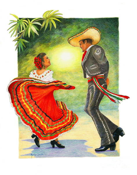 Handsome Drawing - Cinco De Mayo Dancers by Marilyn Smith