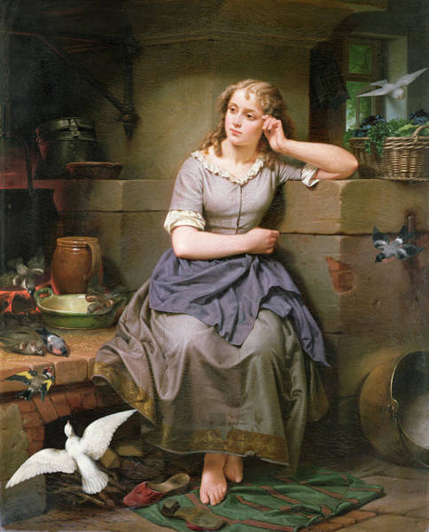 Cinderella Wall Art - Painting - Cinderella And The Birds by English School