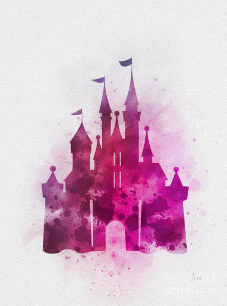 Cinderella Wall Art - Mixed Media - Cinderella Castle Pink by My Inspiration