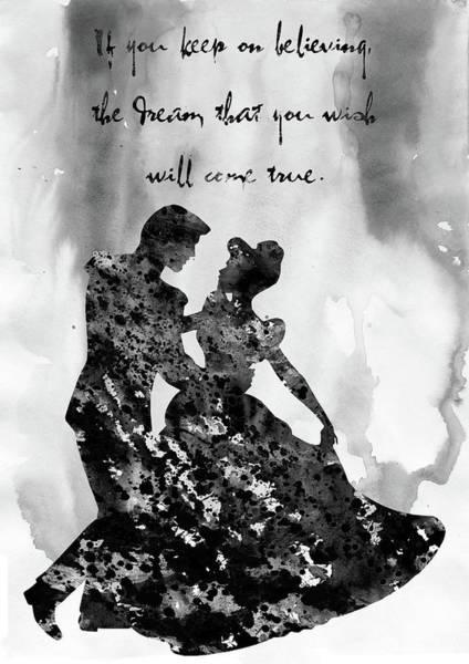 Prince Charming Wall Art - Digital Art - Cinderella With Prince Charming-black by Erzebet S