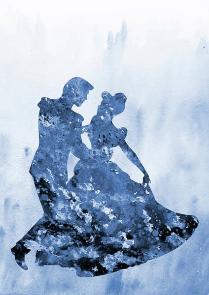 Prince Charming Wall Art - Digital Art - Cinderella With Prince Charming-blue by Erzebet S