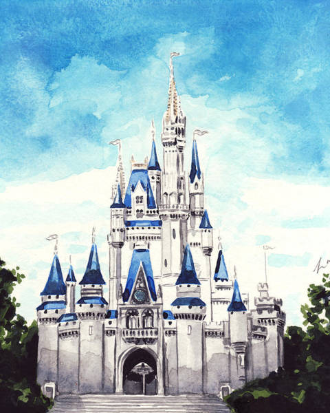 Epcot Center Wall Art - Painting - Cinderella's Castle by Laura Row