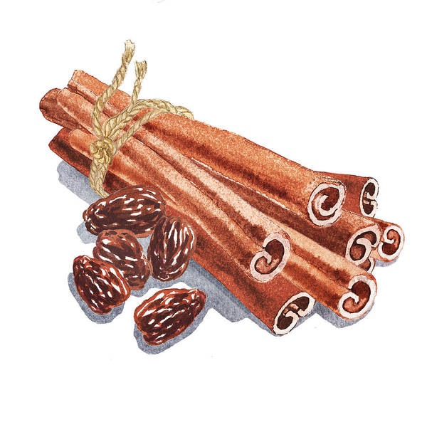 Painting - Cinnamon Sticks And Raisins by Irina Sztukowski
