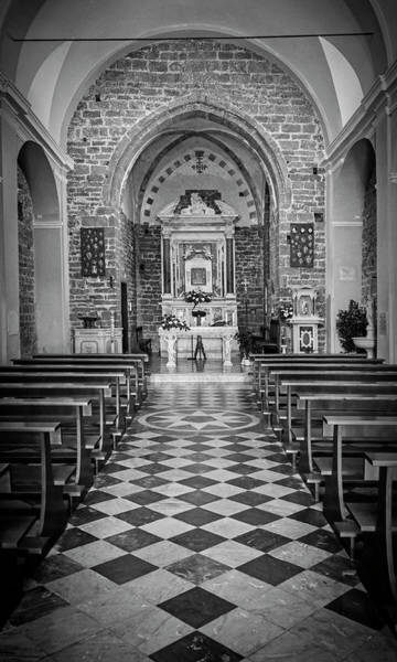 Photograph - Cinque Terre Italy Church Bw by Joan Carroll
