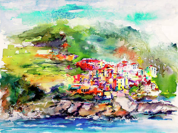 Painting - Cinque Terre Italy Corniglia Travel Memories by Ginette Callaway