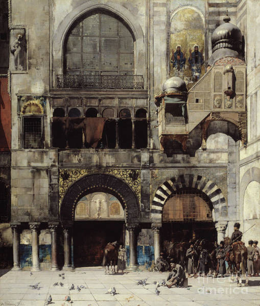 Exterior Painting - Circassian Cavalry Awaiting Their Commanding Officer At The Door Of A Byzantine Monument by Alberto Pasini