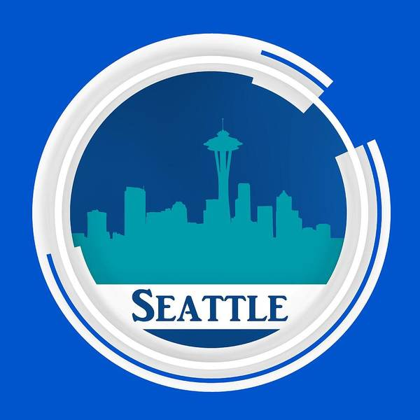Digital Art - Circle Over Blue Seattle Skyline by Alberto RuiZ