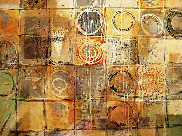 Non-figurative Wall Art - Painting - Circles And Squares by Lutz Baar