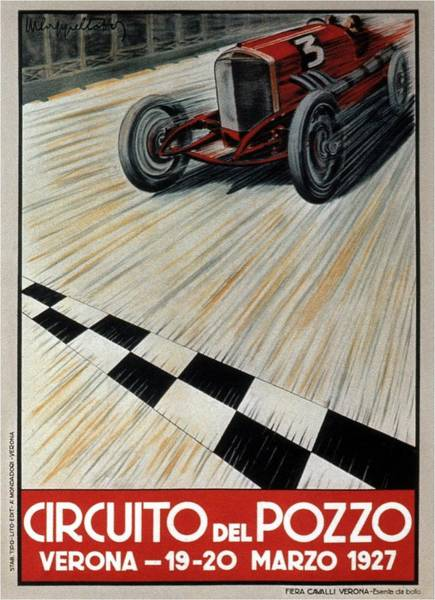Vintage Automobiles Mixed Media - Circuito Del Pozzo - Automobile Racing 1927 - Verona, Italy - Retro Travel Poster - Vintage Poster by Studio Grafiikka