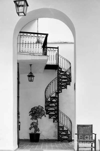 Photograph - Circular Staircase In Black And White by Les Palenik