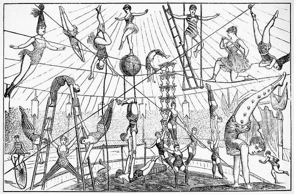 Trapeze Photograph - Circus Acrobats by Granger