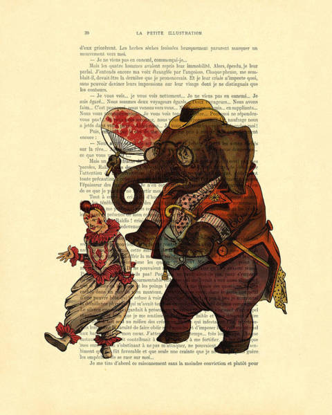 Wall Art - Digital Art - Clown With Circus Elephant Vintage Illustration by Madame Memento